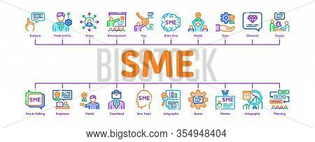 Sme Business Company Minimal Infographic Web Banner Vector. Sme Small And Medium Enterprise, Communi