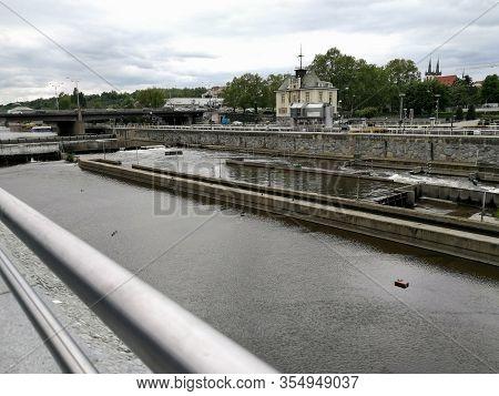 Stvanice Lock Of Vltava River In Prague, Czech Republic