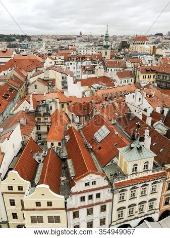 Aerial View Of Old Buildings In Prague, Czech Republic