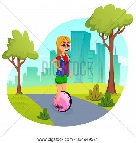 Young Blonde With Long Loose Hair, Wearing Glasses, Riding Smart Self Balancing Unicycle, Spending A