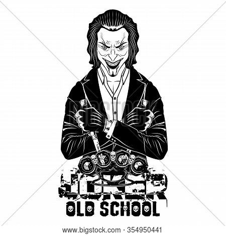 Vector Drawing Of A Smiling Joker On A Background Of Brass Knuckles And Dice. Evil Hero. A Villain W