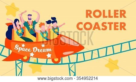 Cartoon Rollercoaster In Amusement Park Flat Invitation Card Happy Satisfied Family Riding On Roller