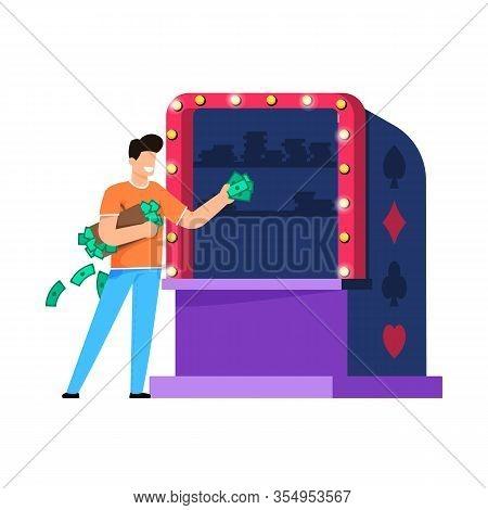 Casino Entertainment Integration Cartoon Flat. Joyful Man Holding An Armful Money And Stands Near Sl
