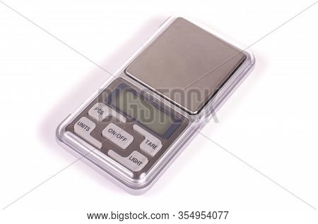 Digital High Precision Pocket Scales Isolated On The White Background