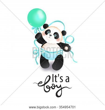 Its A Boy. Cute Panda Toddler With A Balloon. Panda Character Vector Illustration. Panda In The Diap