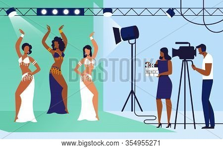 Cinema, Movie Shooting Set Vector Illustration. Professional Actresses, Dancers And Film Crew Cartoo