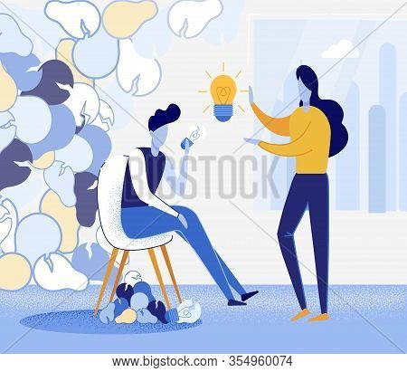 Flat Banner Discussion Problem Working Ideas. People Choose Best Days And Refine Them. Girl Stands I