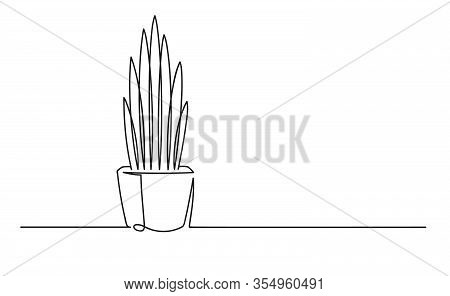 Continuous One Line Drawing Of A Flower In A Pot