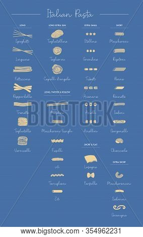 Pasta Collection. Set Of Different Types. Vector Outline Illustration.-vector. Types Of Traditional