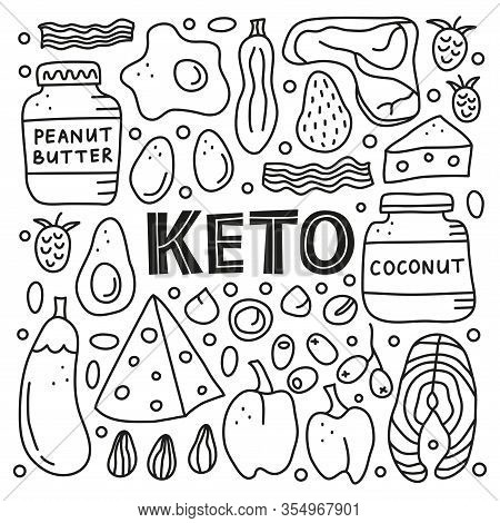 Poster With Doodle Outline Black And White Foods For Ketogenic Diet Including Cheese, Meat, Salmon,