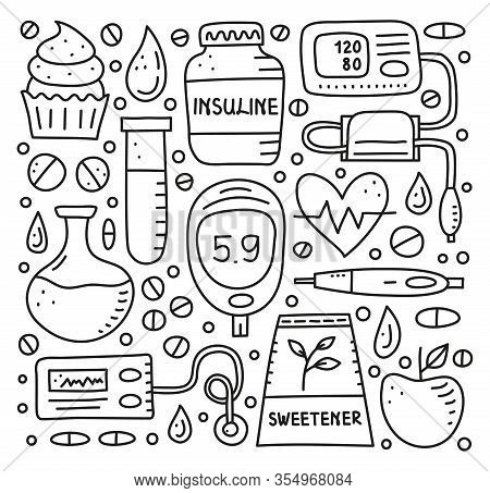 Set Of Doodle Outline Diabetes Items, Including Insulin Pen, Pump, Tonometer, Blood Drop, Glucometer