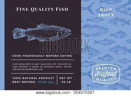Premium Quality Trout Abstract Vector Packaging Design Or Label. Modern Typography And Hand Drawn Sk
