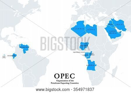 Opec Member States, Political Map. Organization Of The Petroleum Exporting Countries, Organization O