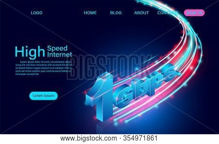 High Speed Internet Concept. 1 Gbps In Global Broadband Networks Speed. Isometric Flat Design Vector