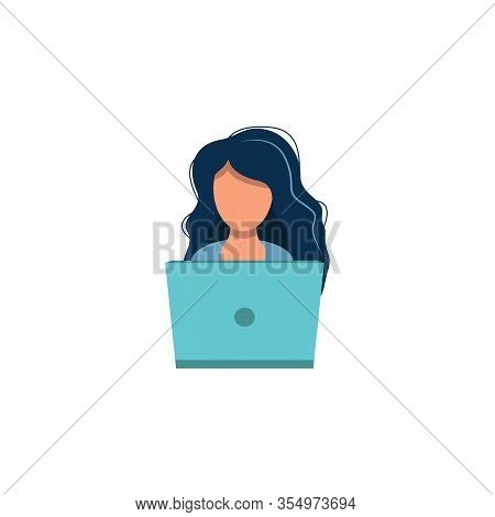 Laptop Female Icon. Girl At The Computer Flat Style Design