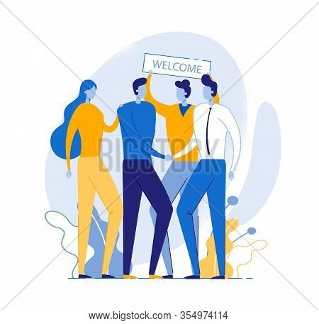 Team Welcoming New Member Flat Vector Illustration. Office Workers Meet New Company Employee Cartoon