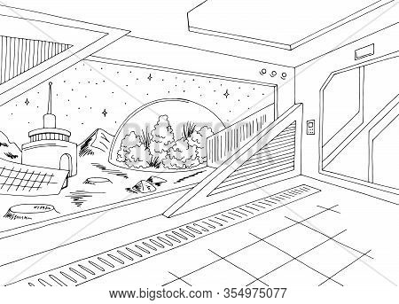 Space Colony Interior Base Station Graphic Black White Sketch Illustration Vector