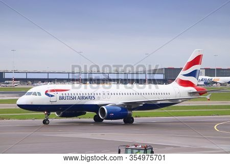 Amsterdam, Netherlands - December 6, 2018: British Airways Airbus A320 At Schiphol Airport In Amster
