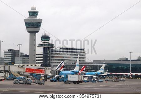 Amsterdam, Netherlands - December 6, 2018: Atc Towers At Schiphol Airport In Amsterdam. Schiphol Is