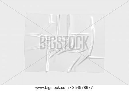 Blank Transparent Plastic Foil Wrap Overlay Mock Up, Gray Background, 3d Rendering. Empty Polymer Wr