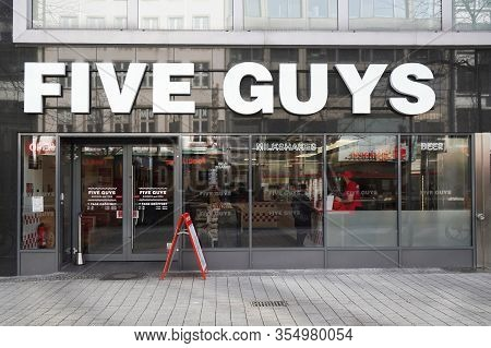 Hannover, Germany - March 2, 2020: Five Guys Fast Casual Burger Restaurant Chain Recently Opened A L