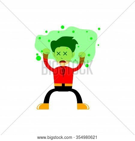 Vector Illustration Of Cartoon Characters Attacked By Fine Dust Particles Of Virus, Staying Healthy