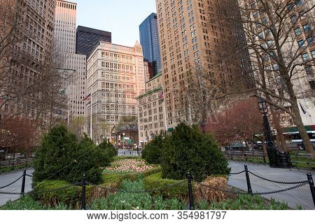 Skyline Of Downtown Buildings From City Hall Park At Tribeca Neighborhood, Manhattan, New York City,