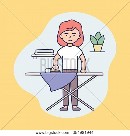 Concept Of Professional Cleaning Service, Housework. Woman Cartoon Character Is Iron Clothes At Home
