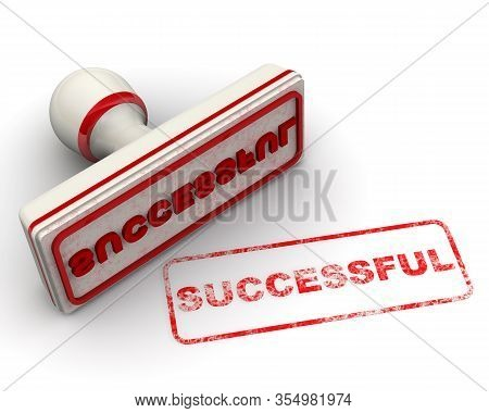 Successful. The Seal. The White Seal And Red Imprint Successfull On White Surface. 3d Illustration