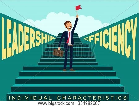 Individual Traits In Job Search Banner Template. Leadership, Efficiency For Career Opportunities. Su