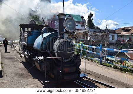 West Bengal, India - October 29, 2019: Locomotive Arrives At The Station Of Famous Narrow-gauge Hima