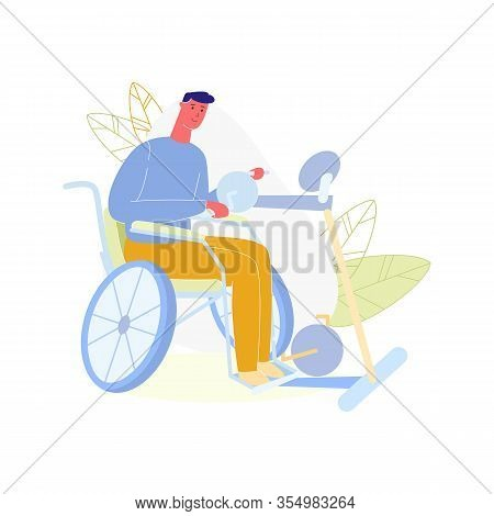 Young Disabled Man Sitting In Wheelchair Doing Exercises Isolated On White Background. Paralyzed Cha