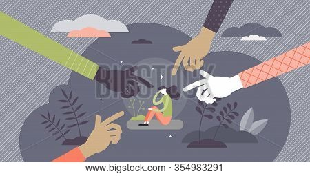 Bullying Attack Concept, Flat Tiny Person Vector Illustration. Aggression And Humiliation Victim Wit
