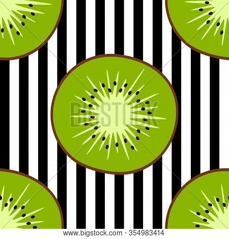 Stock Vector Seamless Pattern With Kiwifruits On Striped Background Designed For Web, Fabric, Paper