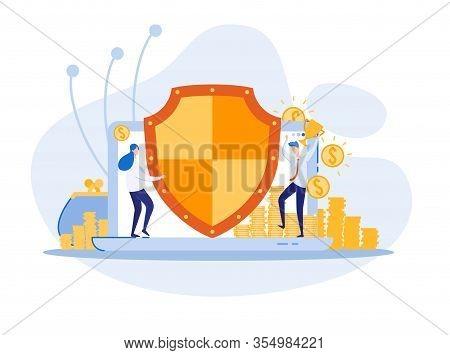Unconquerable Bank Program, Insuring Safety Clients Money. Woman Employee With Huge Shield, Protecti