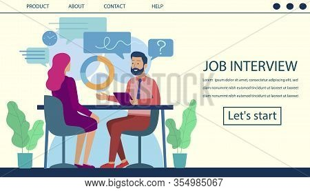 Job Interview Landing Page. Human Resource And Hiring Process Design. Cartoon Flat Man, Boss Chief,