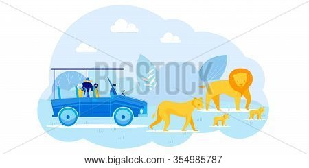 Car Excursion And Photo-hunt During Safari Tour. Cartoon People Tourists Photographing Lions Family