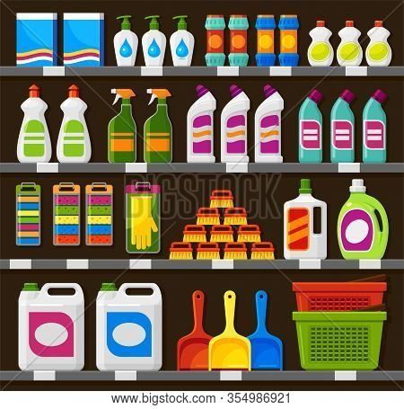 Shop Shelving With Household Cleaning Products Vector Illustration