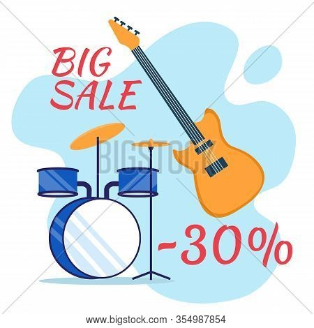 Musical Instruments Sale Social Media Flat Banner. Rock Musician Equipment Wholesale Advertising Pos