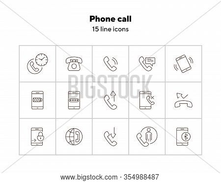 Phone Call Icons. Set Of Line Icons. Time Of Call, Password, Phone Conversation. Mobile Phone Concep