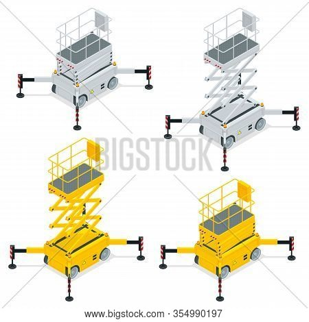 Isometric Yellow Engine Powered Scissor Lift Isolated On White Background. Vector Illustration In A