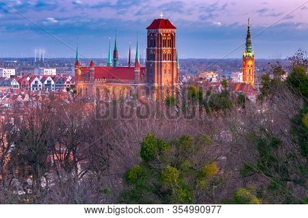 View Of The Historic Center Of Gdansk, And St. Marys Church At Night. Gdansk. Poland.