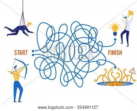 Right Business Choice, Victory Or Failure Metaphor. Flat Maze. Two Tangled Roads. Man Aims With Bow,