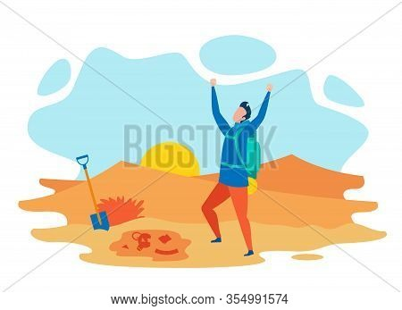 Successful Archaeologist Flat Vector Character. Archeological Achievement, Ancient Culture And Civil