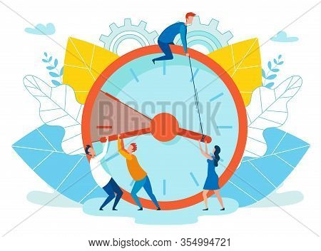 Vector Illustration Extension Deadline Cartoon. Foreground Are Big Clocks, People Are Delaying Passa