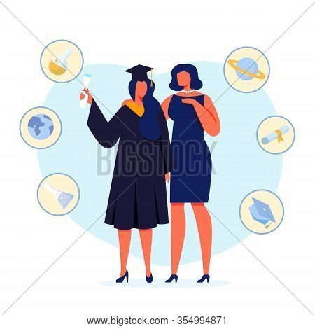 University Graduation Flat Vector Illustration. Happy Mother And Daughter Standing Together Cartoon
