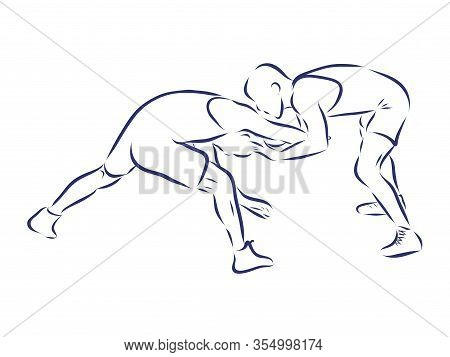 Greco-roman Wrestling. Black Isolated Contour. Sports Competition Or Training. Vector Silhouettes.