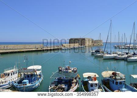 Heraklion, Crete, Greece - June 5, 2019 :  Boats In Heraklion Port The Capital Of The Crete One Of T
