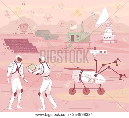 Cosmonaut In Suit Mars Colony Cosmic Base Building With Rover, Antenna. Red Planet Landscape Vector
