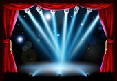 Stage background illustration with blue stage spot lights pointing to the centre of the stage and red curtain frame poster